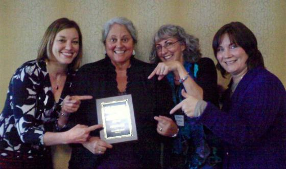 Leia, Carolann, Marcia and I  are excited that I got the award!