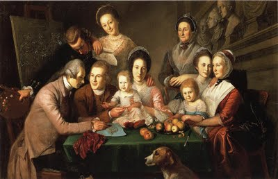 1771-73 Charles Willson Peale (American colonial era artist, 1741-1827). The Peale Family.