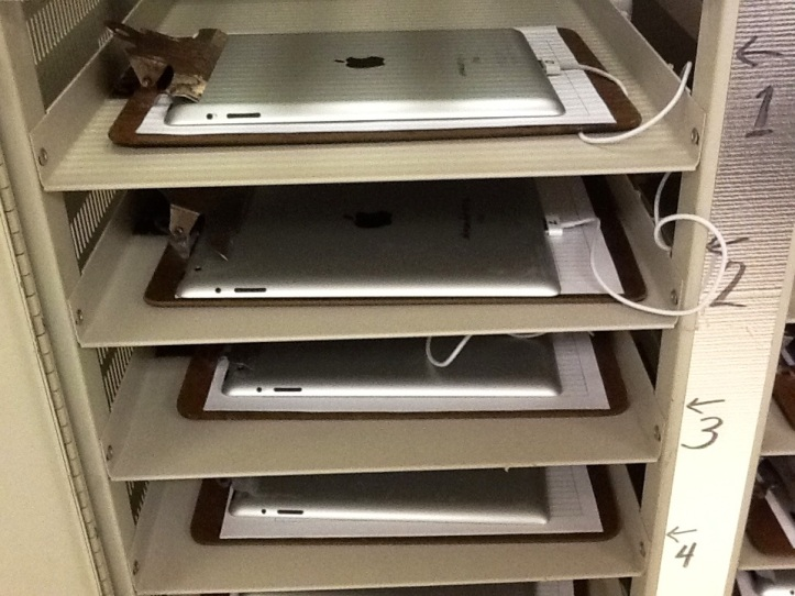 iPads ready and waiting in the cart...