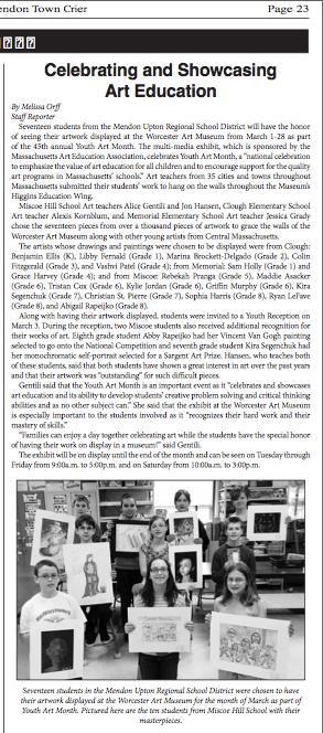 Mendon-Upton Town Crier Article