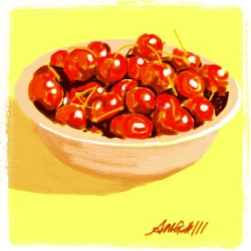 "April 22 (#111): Draw a bowl App: Brushes ""Life is just a bowl of cherries"" on this first day back to school from April vacation... ☺ #everydaydrawingchallenge #brushes"