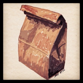 April 3 #92: Draw a brown paper bag App: ArtRage There is nothing like a brown paper bag to pique one's curiosity. What's inside? #everydaydrawingchallenge #ArtRage