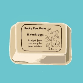 April 4 (#93): Draw an egg carton or some eggs App: ProCreate This is our egg label on an old-fashioned carton (3 rows of 4). We have 10 layer hens and we usually get 8-10 eggs each day... #everydaydrawingchallenge #procreate