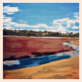April 11 (100): Draw or paint a landscape App: Brushes Cranberry bogs in early March in Plymouth, MA are the subject of this 100th drawing for the Every Day Drawing Challenge... #brushes #everydaydrawingchallenge