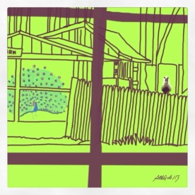 April 24 (#113): Draw or paint a fence App: Brushes This is the fence I see when I look out the window to our barnyard. Along with the fence, you can see Pavone in full display and Gidget waiting for breakfast... #everydaydrawingchallenge #brushes