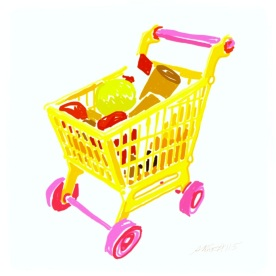 April 26 (#115): Draw a shopping cart or basket App: Brushes Grocery shopping would be a lot more fun if we had adult-sized carts in bright colors like this. I'll take purple and bright green, please... #everydaydrawingchallenge #brushes