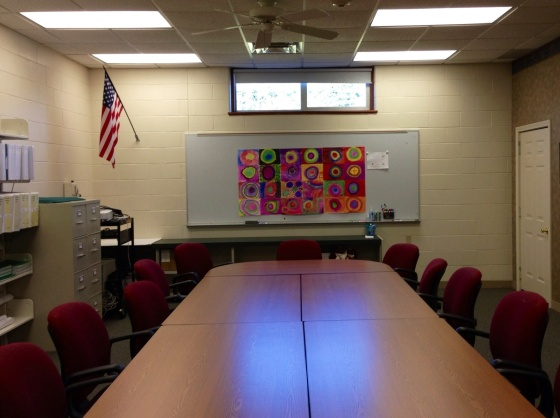 Collaborative Dot Day Mural in the Superintendent's conference room...