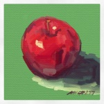 "October 6 (#278): Draw something that starts with the first letter of your nameApp: ArtRage Tool: Oil Paint""Magnified apples appear and disappear,Stem end and blossom end,And every fleck of russet showing clear."" - from ""After Apple-Picking"" by Robert Frost ..."