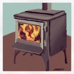 October 9 (#281): Draw what keeps you warm or cool App: ArtRage Tool: Crayon -  Soon enough we'll be firing up the wood stove while the winter winds blow outside...