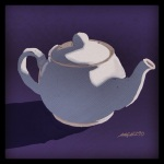 "October 18 (#290): Draw a teapot App: ArtRage Tool: Watercolor -  ""Make tea, not war."" ~Monty Python"