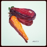 October 21 (#293): Draw something made of glass App: ArtRage Tool: Watercolor - Glass vegetables...nbd...
