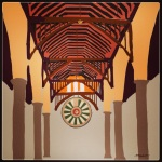 October 27 (#297): Draw a table App: ArtRage Tool: Marker -  A replica of King Arthur's Round Table which hangs in Winchester Castle...18' diameter...a big table in a Great Hall inspiring awe in all who visit. From a photo I took in 1998...