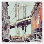 December 9 (#343): Draw a bridge App:ArtRage Tool:Watercolor - My son taught me to be amazed by bridges. This is the Manhattan Bridge in the DUMBO neighborhood of Brooklyn, from a photo I took in the summer of 2012 when Keith Haring was at the Brooklyn Museum...