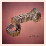 "December 12 (#346): Draw a nut and bolt  App: ArtRage Tool: Metallic Paint  ""A good question is never answered. It is not a bolt to be tightened into place but a seed to be planted"" - John Ciari"