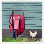 "December 15 (#349): Draw an illustration of your favorite poem App: ArtRage Tool: Oil Paint - ""so much depends  upon a red wheel barrow  glazed with rain water beside the white chickens"" - William Carlos Williams"