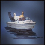 December 20 (#354): Draw a boat App: ArtRage Tool: Watercolor - A boat with 3 alpacas...Man Ray, Andy, and Ivanhohoho...