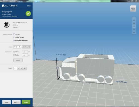 This is what Andrew's model looks llke in Autodesk Print Utility