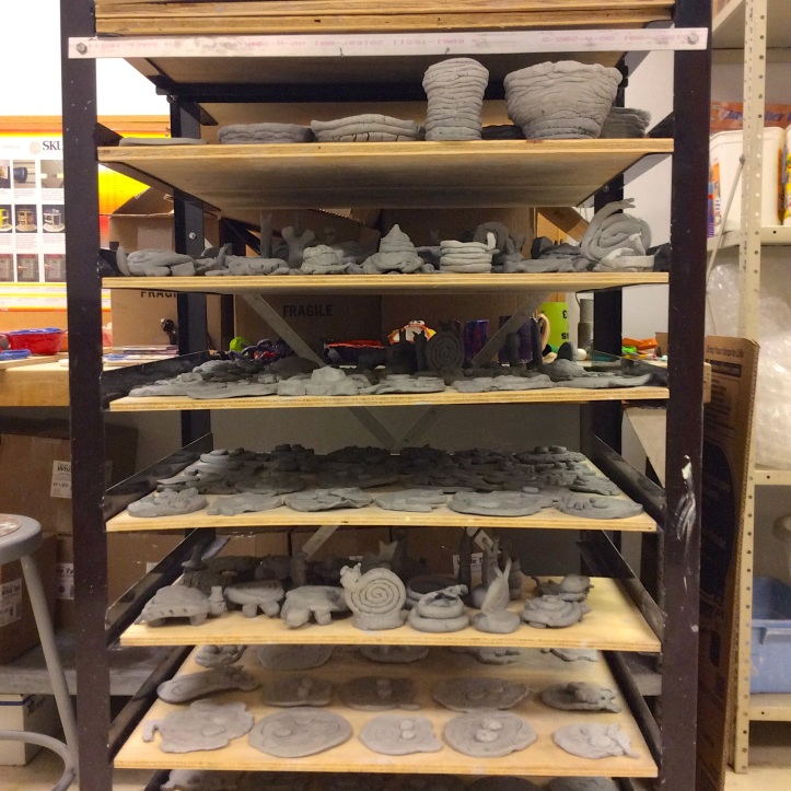 Clay projects waiting to dry and be fired