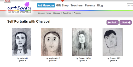 The Charcoal Selfie Gallery on Artsonia