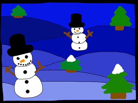 Sophia: For this project I had to draw a snow scene. I thought that the hardest part was getting the snowmen drawn to blend in with the backround. I thought that draining the layers was fun. I thought that the cute l little chubby trees were a good example on how all trees are different. If I could do this again I would try to make another snow character.