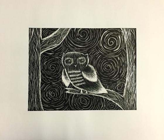 Grace Bernero Owl Scratchboard Grade 6
