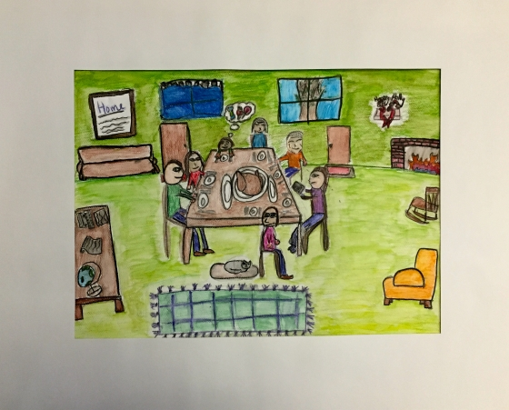Lucie Nicholson Family Portrait Watercolor Pencil Grade 5