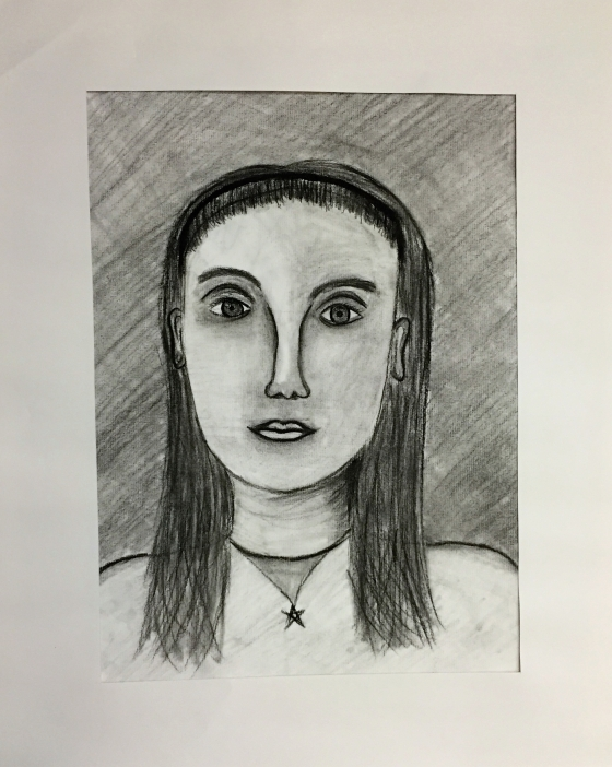 Vaishvi Patel Self Portrait Charcoal Pencil Grade 6