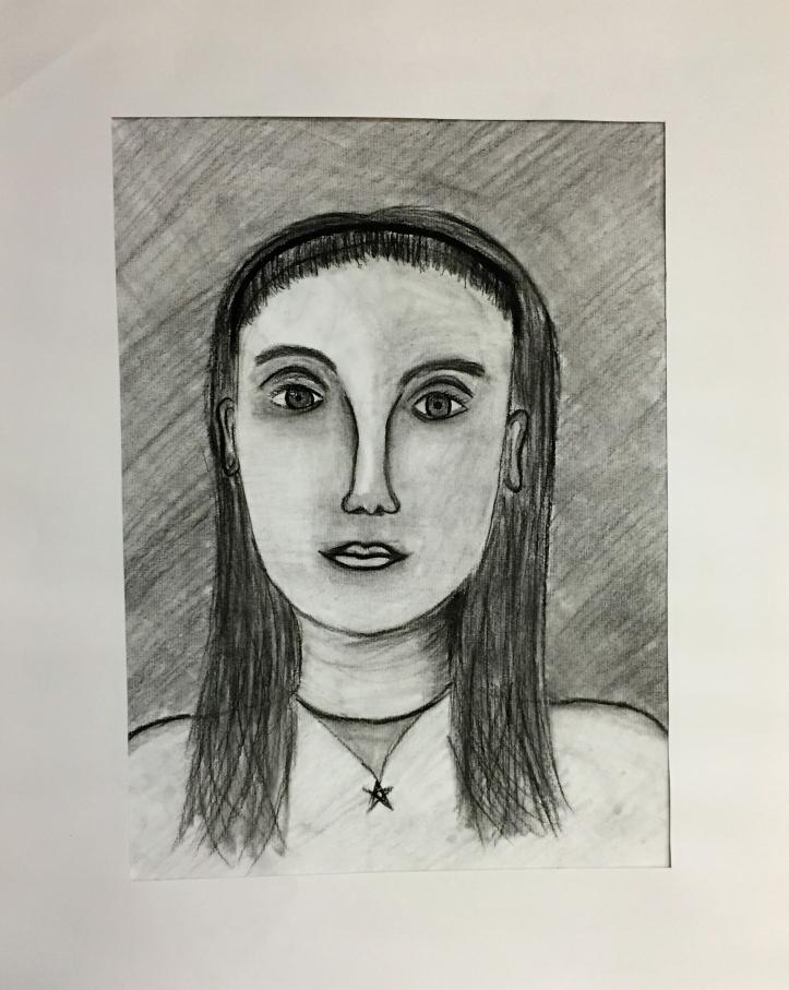 Vaishvi Patel Self Portrait Charcoal Pencil Grade 6