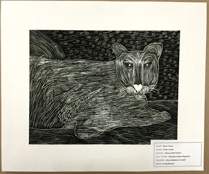 Scratchboard Lion by Ryan Chase