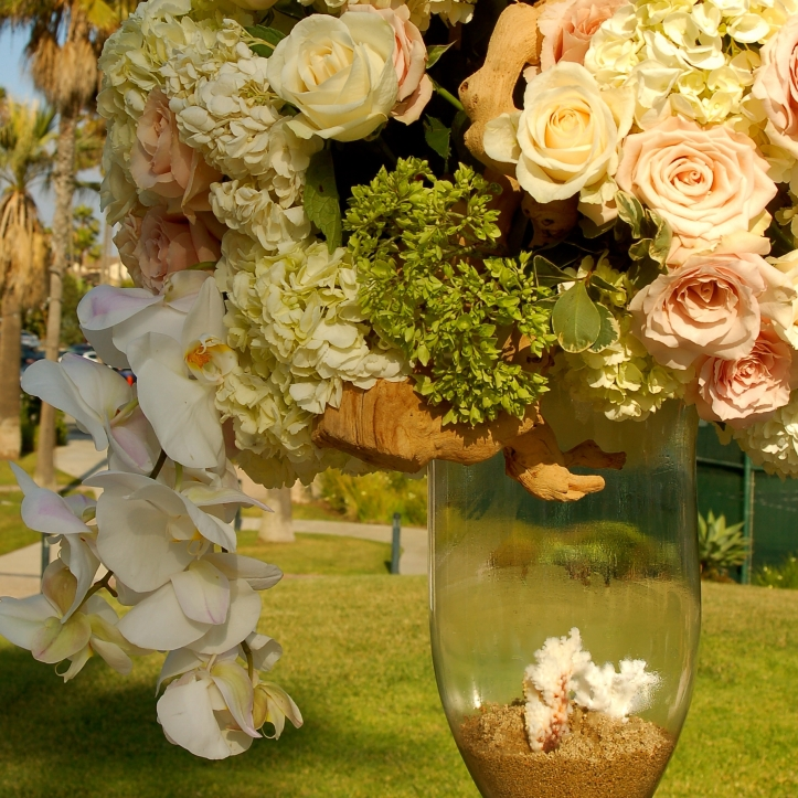 Wedding flowers by the sea