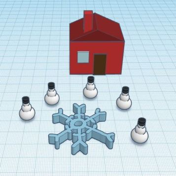 Max L - I liked making the snowmen hats, and then duplicating all the snowmen, but overall, my favorite part was forming the different shapes for the house.