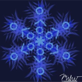 "Mihir B - My favorite part about this artwork is the background and the patterns on this snowflake. It had snowed a few days back so it was the perfect time to create a snowflake. I learned about symmetry. I was surprised about how the background fit in well with the snowflake. I used a online sketchbook called ""Autodesk Sketchbook"" and my stylus pen to create this piece of artwork."
